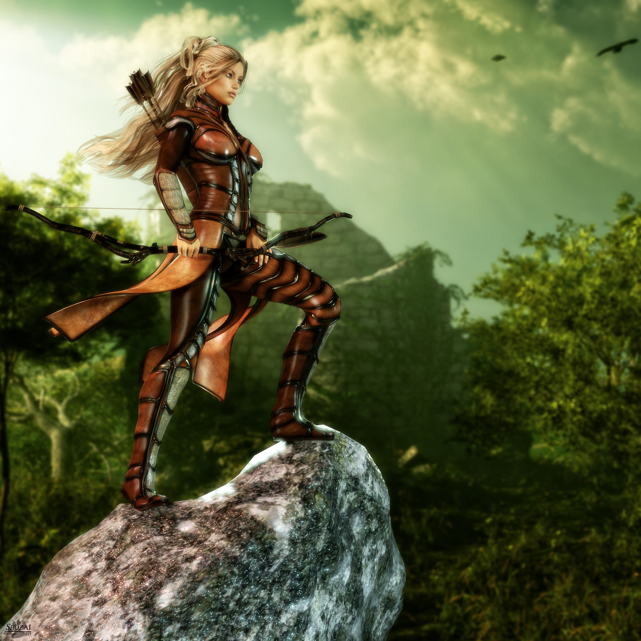 IRAY: Elene, DragonflyHair, RuneOutfit, RangerProps, RockPack1, FantasticBachgrounds03-BG